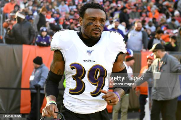 Cornerback Brandon Carr of the Baltimore Ravens runs onto the field at halftime of a game against the Cleveland Browns on December 22, 2019 at...