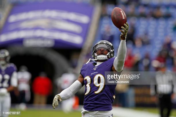 Cornerback Brandon Carr of the Baltimore Ravens warms up prior to the game against the Houston Texans at M&T Bank Stadium on November 17, 2019 in...