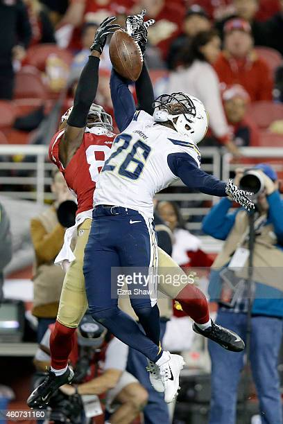 Cornerback Brandon Flowers of the San Diego Chargers breaks up a pass to wide receiver Brandon Lloyd of the San Francisco 49ers in the first quarter...