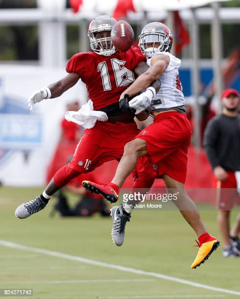 Cornerback Brent Grimes breaks up a pass for Wide Receiver Freddie Martino of the Tampa Bay Buccaneers works out during Training Camp at One Buc...