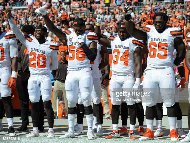 Cornerback Briean BoddyCalhoun linebacker Christian Kirksey running back Isaiah Crowell and defensive lineman Larry Ogunjobi of the Cleveland Browns...