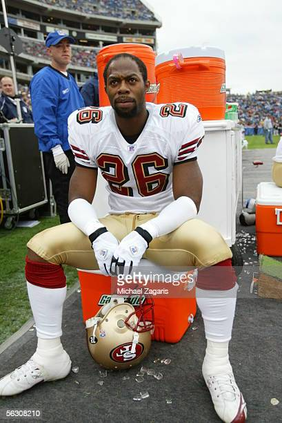 Cornerback Bruce Thornton of the San Francisco 49ers looks on during the game against the Tennessee Titans at the Coliseum in Nashville Tennessee on...