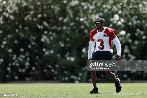 Cornerback Budda Baker of the Arizona Cardinals participates in an off-season workout at Dignity Health Arizona Cardinals Training Center on June 02,...