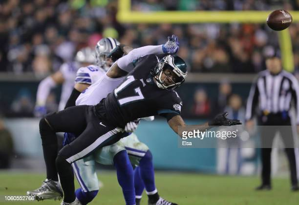Cornerback Byron Jones of the Dallas Cowboys breaks up a pass intended for wide receiver Alshon Jeffery of the Philadelphia Eagles during the third...