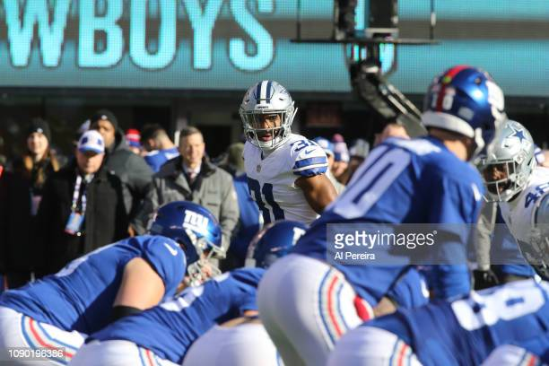 Cornerback Byron Jones of the Dallas Cowboys in action against the New York Giants at MetLife Stadium on December 30 2018 in East Rutherford New...
