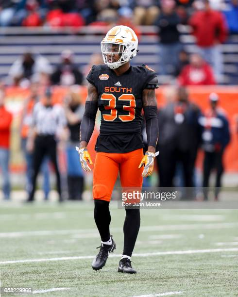 Cornerback Cameron Sutton from Tennessee of the South Team during the 2017 Resse's Senior Bowl at LaddPeebles Stadium on January 28 2017 in Mobile...