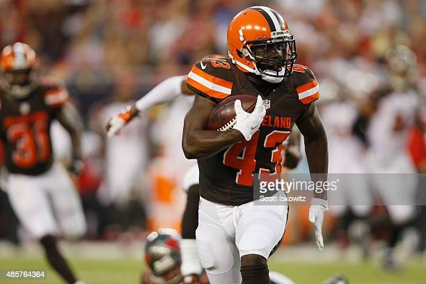 Cornerback Charles Gaines of the Cleveland Browns intercepts the ball the during the first half of the preseason game between the Tampa Bay...