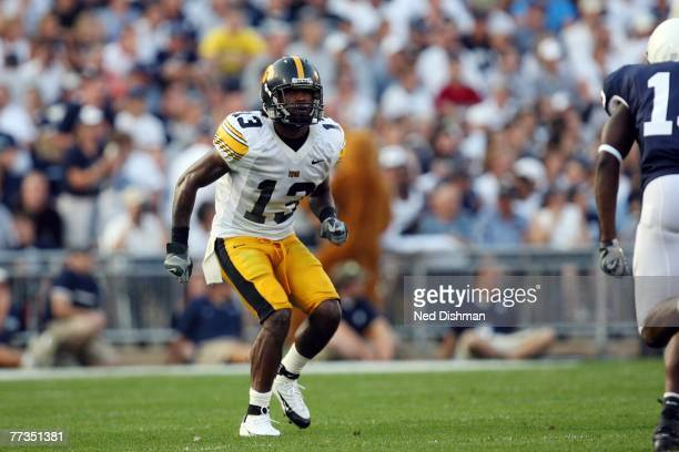 Cornerback Charles Godfrey of the University of Iowa Hawkeyes in coverage during game against the Penn State Nittany Lions at Beaver Stadium on...