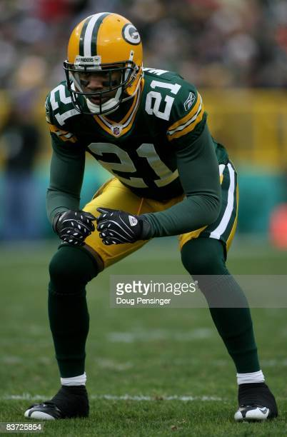 Cornerback Charles Woodson of the Green Bay Packers is poised as he defends against the Chicago Bears during NFL action at Lambeau Field on November...