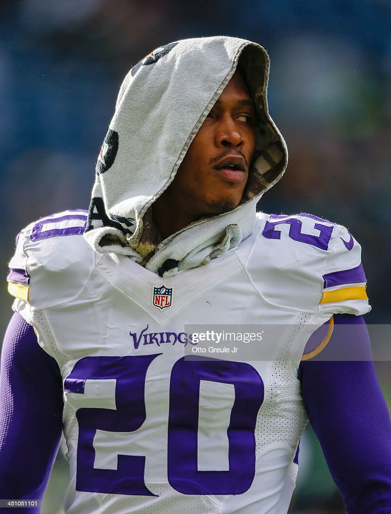 Cornerback Chris Cook #20 of the Minnesota Vikings looks on prior to the game against the Seattle Seahawks at CenturyLink Field on November 17, 2013 in Seattle, Washington.