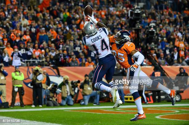 Cornerback Chris Harris of the Denver Broncos breaks up a pass intended for wide receiver Brandin Cooks of the New England Patriots in the fourth...