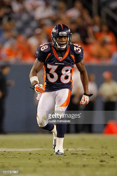 Cornerback Chris Harris of the Denver Broncos in action against the Buffalo Bills at Sports Authority Field at Mile High on August 20 2011 in Denver...