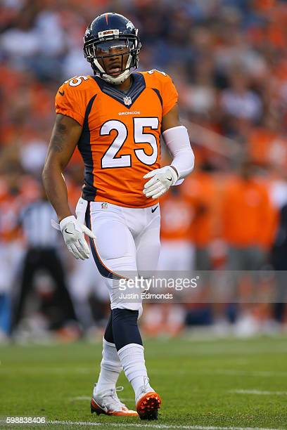 Cornerback Chris Harris of the Denver Broncos in action against the Los Angeles Rams at Sports Authority Field at Mile High on August 27 2016 in...