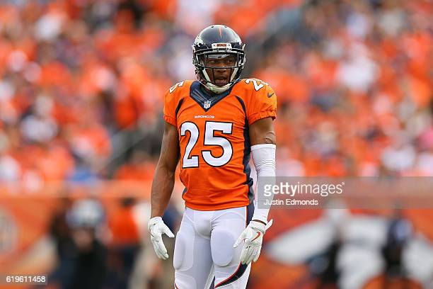 Cornerback Chris Harris of the Denver Broncos in action against the San Diego Chargers at Sports Authority Field at Mile High on October 30 2016 in...