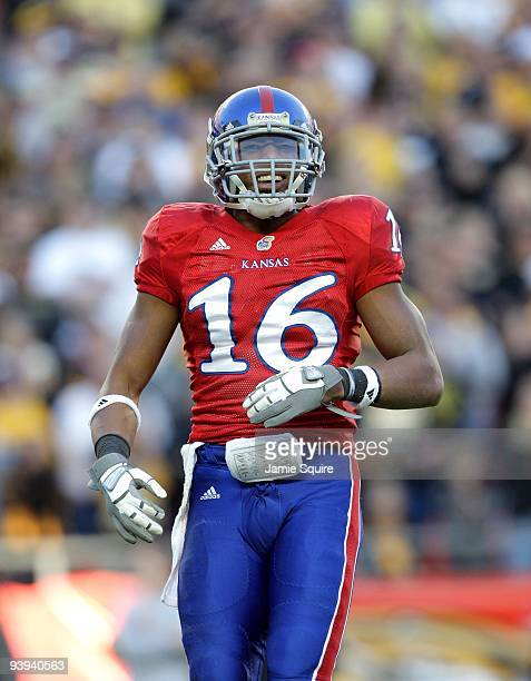 Cornerback Chris Harris of the Kansas Jayhawks looks on during the game against the Missouri Tigers at Arrowhead Stadium on November 28 2009 in...