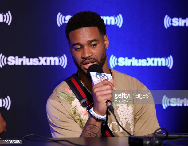 Cornerback Darius Slay of the Detroit Lions speaks onstage during day 1 with SiriusXM at Super Bowl LIV on January 29, 2020 in Miami, Florida.