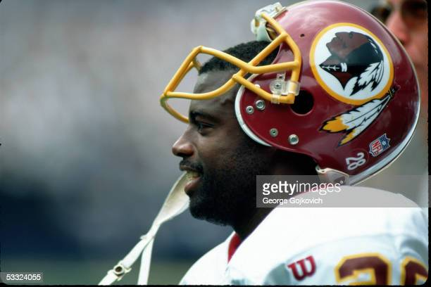 Cornerback Darrell Green of the Washington Redskins on the sideline during a game against the Pittsburgh Steelers at Three Rivers Stadium on...