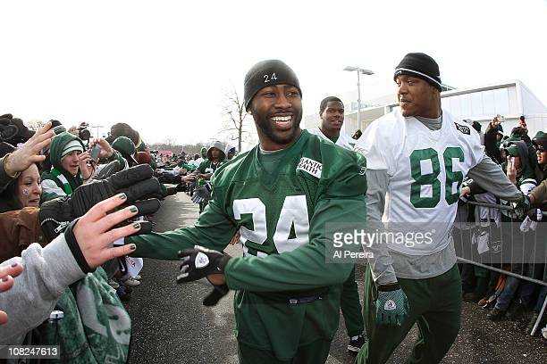 Cornerback Darrelle Revis of the New York Jets greets the fans at a sendoff rally before the team heads to Pittsburgh for the AFC Championship Game...