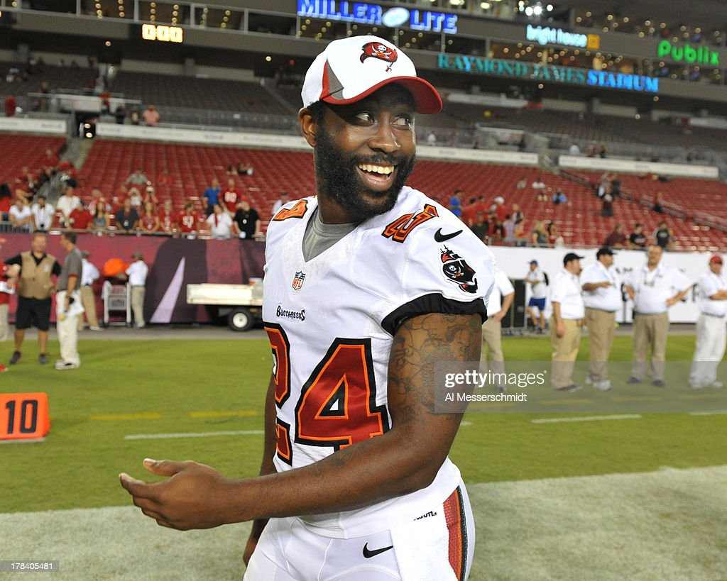 Cornerback Darrelle Revis #24 of the Tampa Bay Buccaneers leaves the field after the game against the Washington Redskins August 29, 2013 at Raymond James Stadium in Tampa, Florida. The Redskins won 30 - 12.