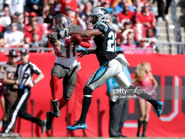 Cornerback Daryl Worley of the Carolina Panthers breaks up a pass intended for Wide Receiver DeSean Jackson of the Tampa Bay Buccaneers during the...