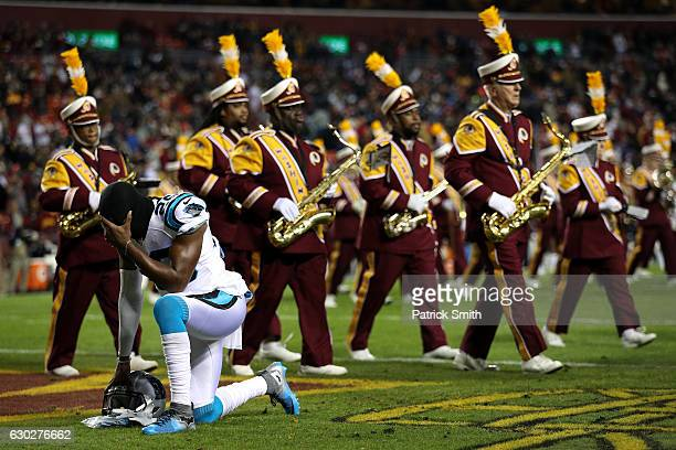 Cornerback Daryl Worley of the Carolina Panthers takes a moment prior to a game against the Washington Redskins at FedExField on December 19 2016 in...