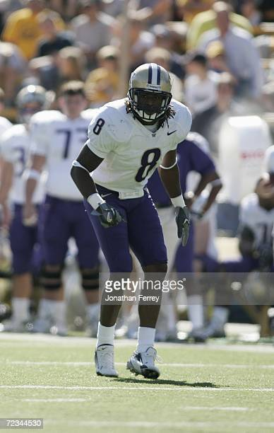 Cornerback Dashon Goldson of the Washington Huskies lines up for a play against the California Golden Bears on October 21 2006 at Memorial Stadium in...