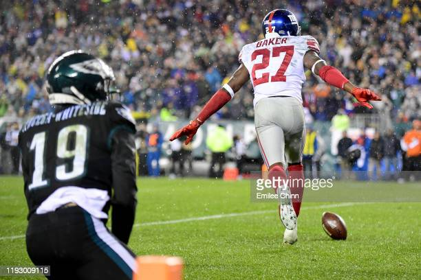 Cornerback Deandre Baker of the New York Giants celebrates after breaking up a pass intended for wide receiver JJ ArcegaWhiteside of the Philadelphia...