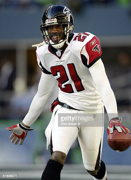 Cornerback DeAngelo Hall of the Atlanta Falcons celebrates after intercepting and rushing the football for a touchdown against the Seattle Seahawks...