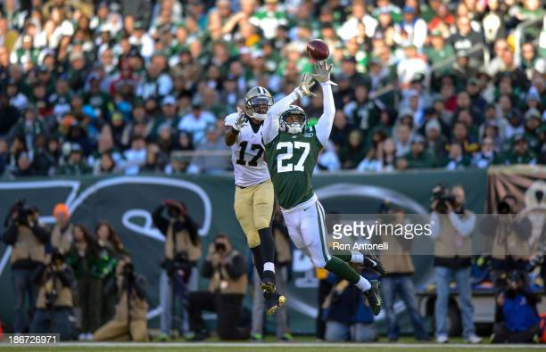 Cornerback Dee Milliner of the New York Jets breaks up a pass to wide receiver Robert Meachem of the New Orleans Saints in the 2nd half of the Jets...