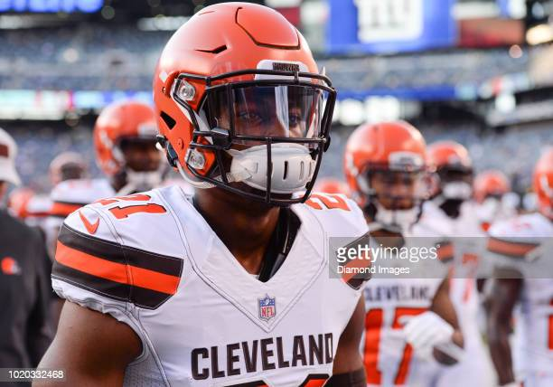 Cornerback Denzel Ward of the Cleveland Browns walks off the field prior to a preseason game against the New York Giants at MetLife Stadium in East...