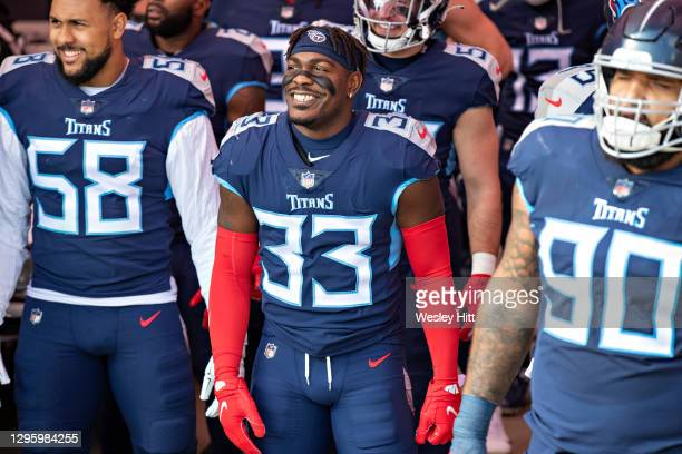 Cornerback Desmond King II of the Tennessee Titans prepares to run out before their AFC Wild Card Playoff game against the Baltimore Ravens at Nissan...