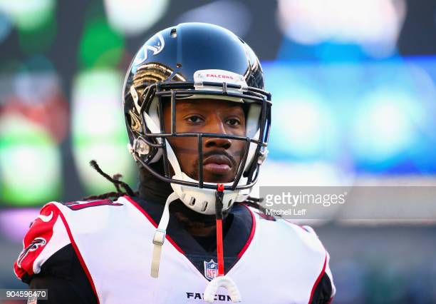 Cornerback Desmond Trufant of the Atlanta Falcons looks on during warmups before playing against the Philadelphia Eagles in the NFC Divisional...