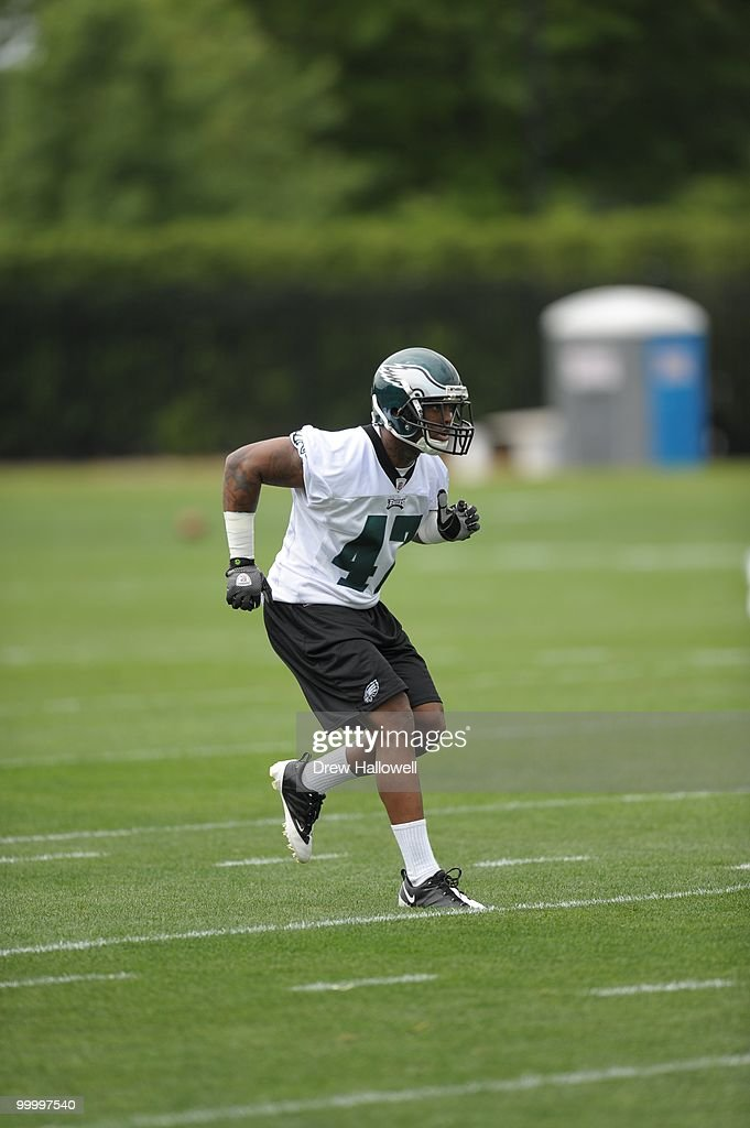 Cornerback Devin Ross #47 of the Philadelphia Eagles runs during practice on May 19, 2010 at the NovaCare Complex in Philadelphia, Pennsylvania.