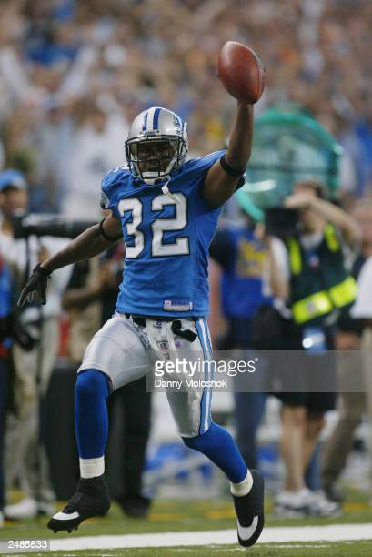 Cornerback Dre Bly of the Detroit Lions celebrates during the NFL game against the Arizona Cardinals at Ford Field on September 7 2003 in Detroit...