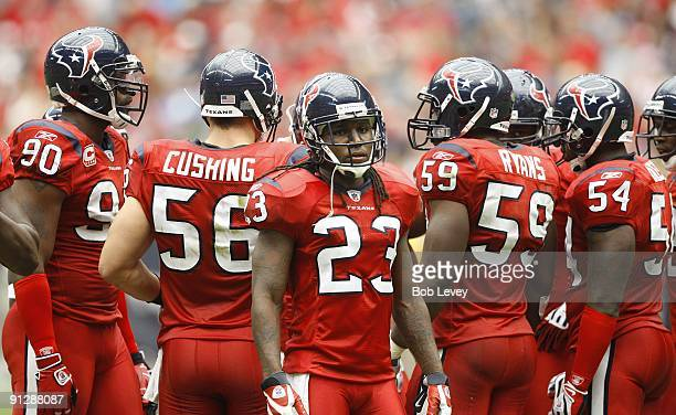 Cornerback Dunta Robinson of the Houston Texans awaits the official review on a play during the game against the Jacksonville Jaguars at Reliant...