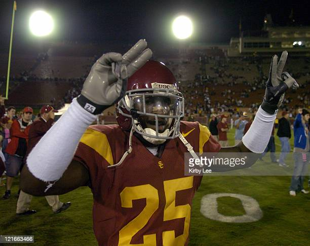 Cornerback Eric Wright celebrates 38-0 victory over Washington in Pacific-10 Conference football game at the Los Angeles Memorial Coliseum on...