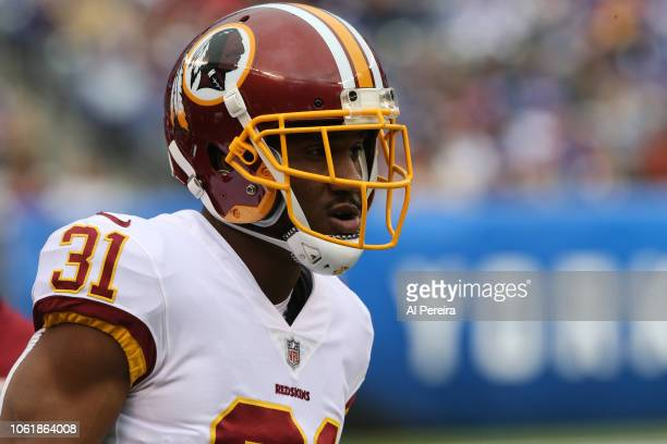 Cornerback Fabian Moreau of the Washington Redskins in action against the New York Giants during their game at MetLife Stadium on October 28 2018 in...