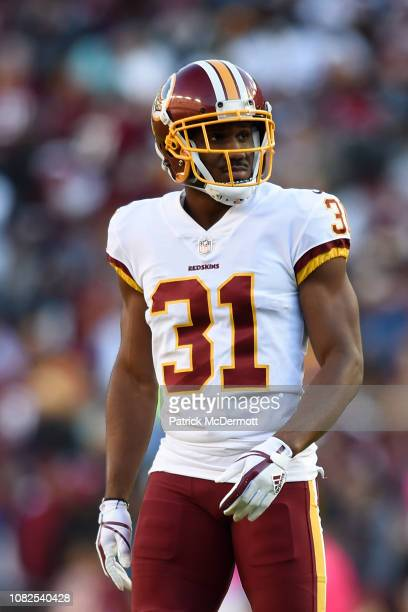 Cornerback Fabian Moreau of the Washington Redskins in action during a game against the Dallas Cowboys at FedExField on October 21 2018 in Landover...