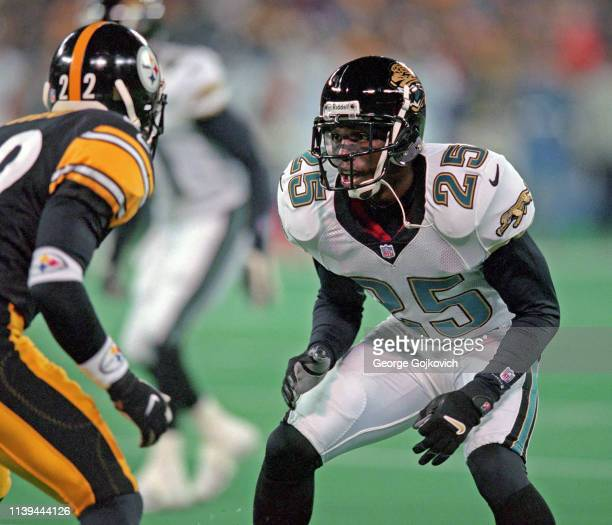 Cornerback Fernando Bryant of the Jacksonville Jaguars looks across the line of scrimmage at the Pittsburgh Steelers during a game at Three Rivers...