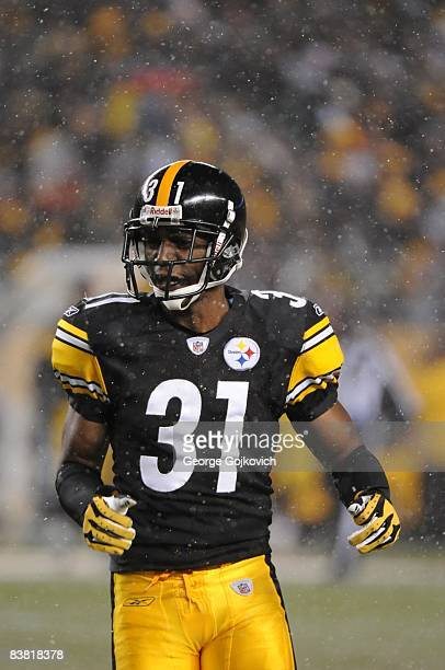 Cornerback Fernando Bryant of the Pittsburgh Steelers looks on from the field as snow falls during a game against the Cincinnati Bengals at Heinz...
