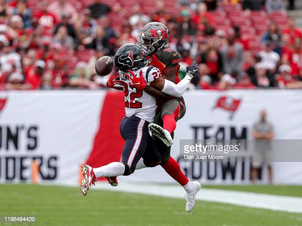 Cornerback Gareon Conley of the Houston Texans breaks up a pass intended for Wide Receiver Breshad Perriman of the Tampa Bay Buccaneers at Raymond...