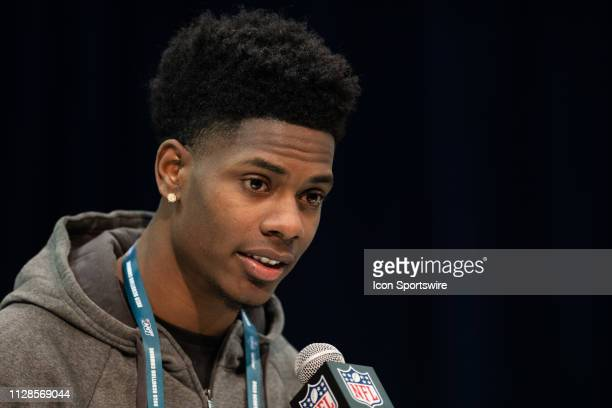 LSU cornerback Greedy Williams answers questions from the media during the NFL Scouting Combine on March 3 2019 at the Indiana Convention Center in...
