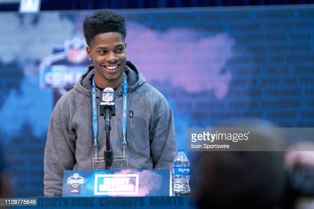 LSU cornerback Greedy Williams answers questions from the media during the NFL Scouting Combine on March 03 2019 at the Indiana Convention Center in...