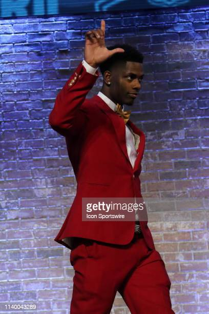 LSU cornerback Greedy Williams is introduced before the first round of the 2019 NFL Draft on April 25 at the Draft Main Stage on Lower Broadway in...