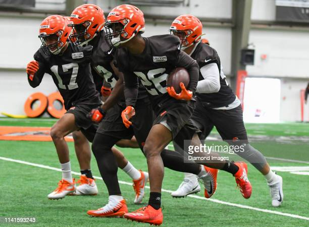 Cornerback Greedy Williams of the Cleveland Browns carries the ball in a drill during a rookie mini camp on May 4 2019 at the Cleveland Browns...