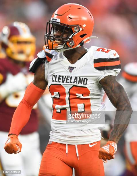 cornerback Greedy Williams of the Cleveland Browns celebrates a tackle for loss in the first quarter of a preseason game against the Washington...