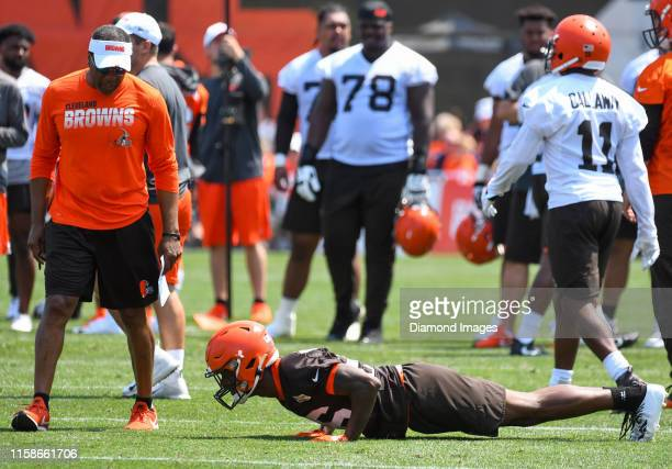 cornerback Greedy Williams of the Cleveland Browns does pushups after dropping a pass during a training camp practice on July 25 2019 at the...