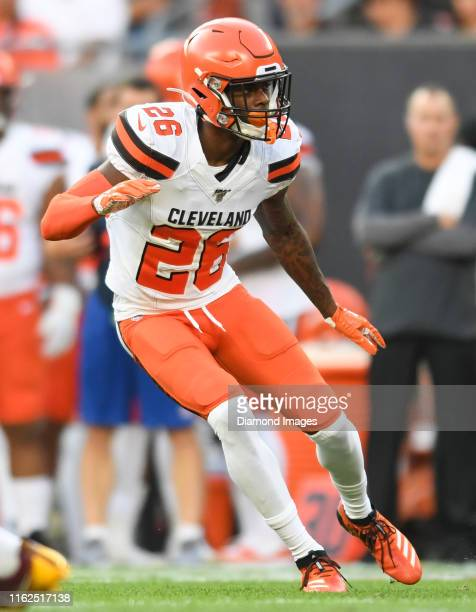 Cornerback Greedy Williams of the Cleveland Browns in pass coverage in the first quarter of a preseason game against the Washington Redskins on...
