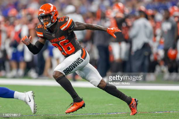 Cornerback Greedy Williams of the Cleveland Browns is seen during the game against the Indianapolis Colts at Lucas Oil Stadium on August 17 2019 in...