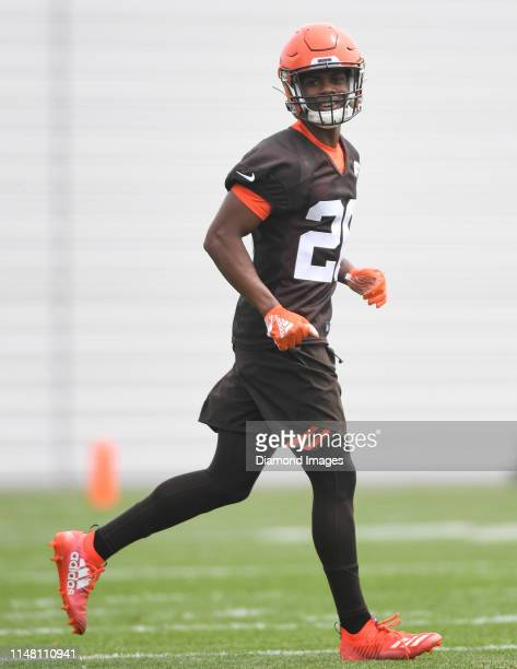 Cornerback Greedy Williams of the Cleveland Browns on the field during an OTA practice on May 30 2019 at the Cleveland Browns training facility in...